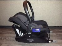 JANE KOOS baby car seat/ carrier with isofox base, with removable sun shield and rain over
