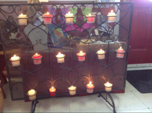 Metal Fireplace Screen with 16 Red/White Candles
