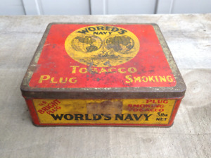 VINTAGE WORLD'S NAVY PLUG SMOKING TOBACCO TIN
