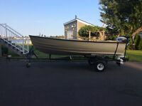 Double she'll 12' unsinkable boat & 20 HP Johnson