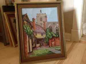 European Buildings hand stitched Needlepoint - Custom framed