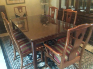 Elegant Solid wood Dining table and China Cabinet