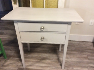 Paris grey chalk painted antique sewing table. Solid wood