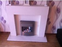 Limestone fireplace with hearth AND electric fire!