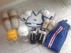 HOCKEY EQUIPMENT,--HELMETS--KNEE PADS--SHOULDER PADS--ELBO