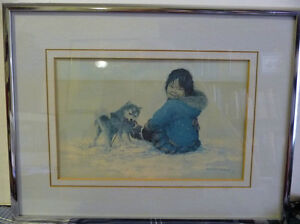 "Inuit Painting, Dorothy Francis ""Little Puglik's Playmate"" Litho Stratford Kitchener Area image 1"