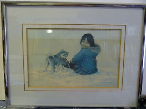 "Inuit Painting, Dorothy Francis ""Little Puglik's Playmate"" Litho"