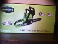 "Cordless battery 10"" chainsaw"