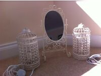 Birdcage lamps and mirror set