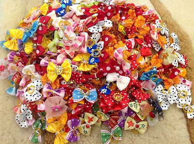 Used, 100 PCS/LOT Handmade Designer Pet Dog Accessories Grooming Hair Bows For Dogs for sale  Shipping to Nigeria