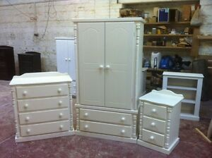 Pine Furniture Ashbourne White Shabby Chic 3 Piece Bedroom Set No Flat Packs