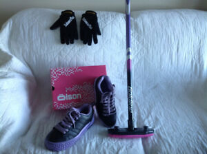 Curling shoes plus gripper, gloves and broom