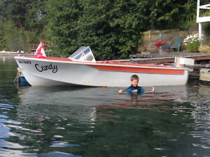 Vintage 1957 Skagit Sportster 15 feet with 55 Chrysler Outboard