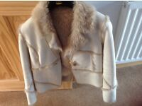 Cream Fur Lined Jacket ( size 10/12 ) Ex Condition