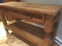 SOLD - Rustic Solid Wood Sofa Table / TV Stand
