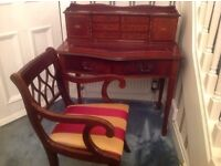 ANTIQUE REPRODUCTION DESK AND CHAIR