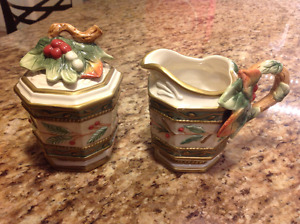 Fitz and Floyd Winter Wonderland Creamer and Sugar