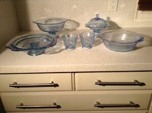 Depression glass - madrid blue dinnerware