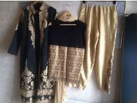Brand new Wedding Indian suit colour black & gold size XL £70 free post