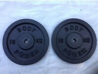 2 x 15kg Bodypower Standard Cast Iron Weights