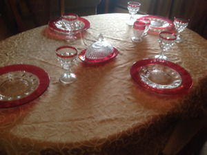 Ruby red depression glassware