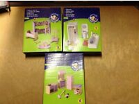 3 brand new boxes of dolls house furniture with 13 other handmade items