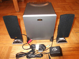 Powerful amplified speakers and subwoofer