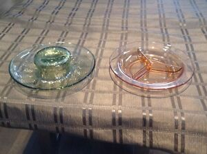 2 Depression Glass Dishes.