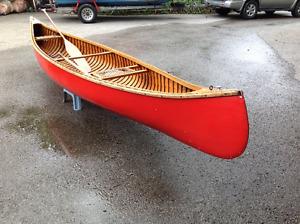 1956 15' Peterborough canvas cedar strip canoe.