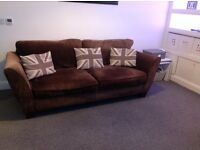 BARKER AND STONEHOUSE 4 SEATER OVERTON SOFA IN SHERLOCK PLAIN CHOCOLATE