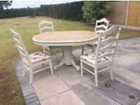 Shabby chic solid farmhouse pine table and chairs
