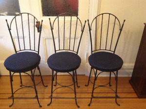 3 Charleston Forge Swivel Wrought Iron Bar Stools  - For Sale