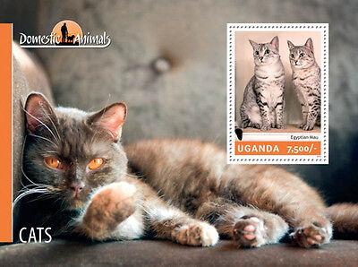 UGANDA 2014 DOMESTIC ANIMALS - CATS STAMP SOUVENIR SHEET  21D-146