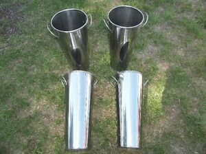 "4 - STAINLESS STEEL POTS 16"" TALL X 7"" ROUND TOP Belleville Belleville Area image 1"