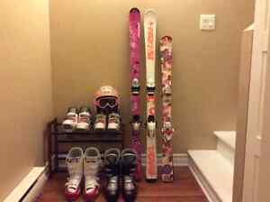 Various ski equipment for boys and girls