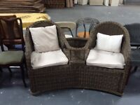 Dark Wicker Love Seat