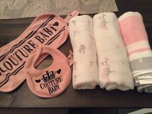 Baby girl Aden + Anais swaddle blankets