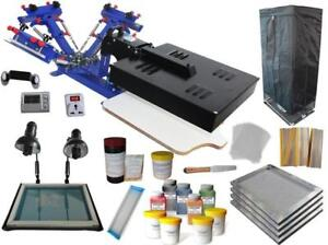 3 Color 1 Dryer Screen Printing kit with Exposure/ Drying Cabinet / Press Tools 006952