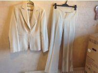 Bay ladies suit jacket & trousers beige size: 8 uesd £10