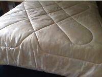 Gold quilted bedspread matching valance and pillow cases