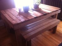 Handmade Rustic Wood Table + Benches  300 OBO