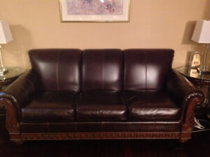 Gorgeous Brown Leather Sofa, Loveaseat, Chair and Ottoman