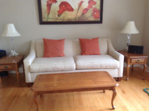 Solid Oak coffee Table and 2 matching end tables