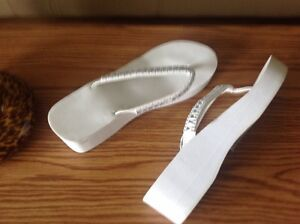 White Between Toe Sandals with BLING St. John's Newfoundland image 1