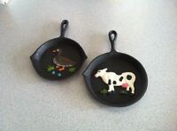 Hand painted cast iron frying pans. Cute Xmas present.