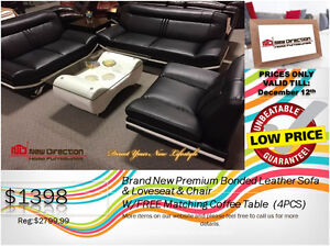 ◆Brand New 4PCS Bonded Leather Sofa Set W/1 Big Coffee Table@ND