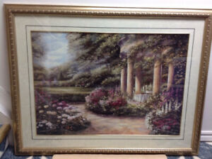 BIG FRAMED PAINTING WITH VERY ELEGANT VIEW OF GARDEN FILLED WITH