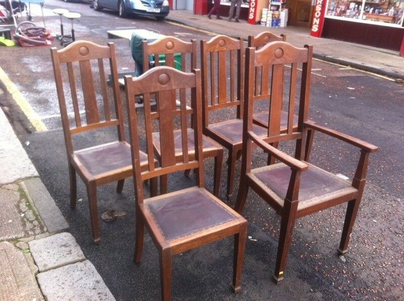 Oak dining chairs : look Art Deco period