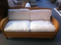 Colonial Rattan Conservatory Settee + Armchair
