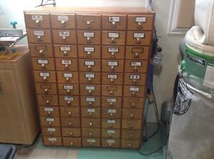 Oak library card catalogue index cabinet